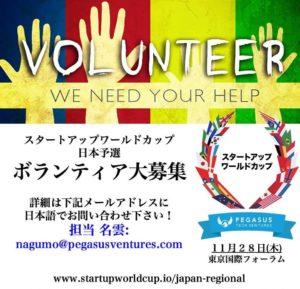 【募集中】スタートアップワールドカップ東京予選:ボランティア大募集